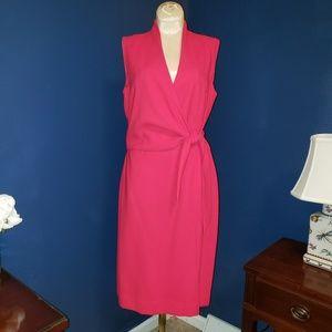 Pink faux wrap dress with back zipper